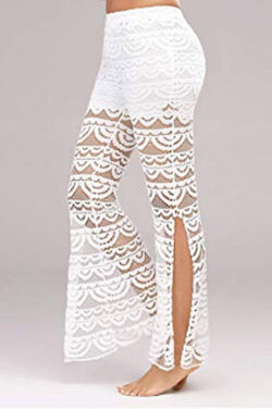 Womens Lace Bell Bottoms Wide Leg Lounge Pants Comfy Stretch Mid Waist Flare Palazzo Trousers, white