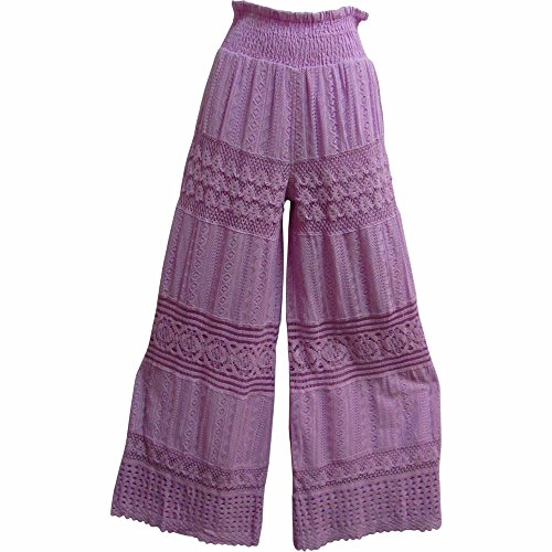 Women's Lace Crochet Cotton Fashion Embroidered Palazzo Flared Long Pants by Yoga Trendz