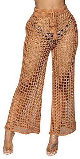 Keaac Womens Lace Up Wide Leg Lace Panel Long Palazzo Pants
