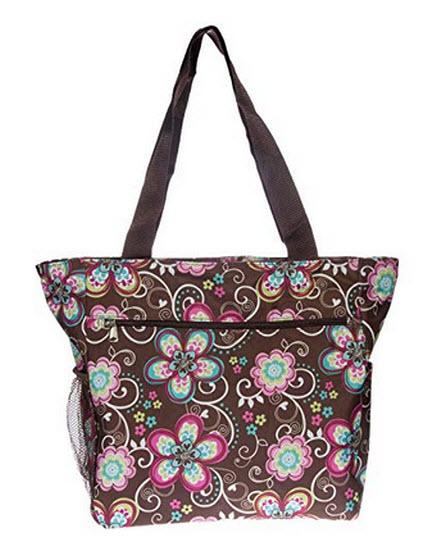Gen SH Womens Large Print Beach Tote Shopper Weekender School Gym Travel Bag brown flower