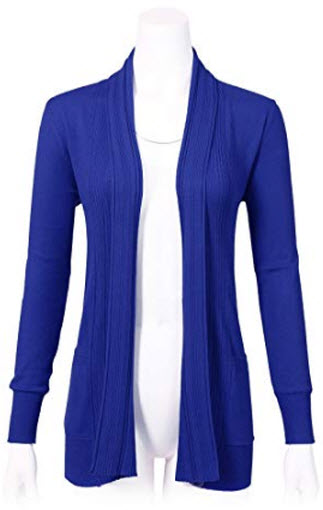 ARC Studio Women's Long Sleeve Open Front Draped Cardigans with Pocket (S-XL), royal blue