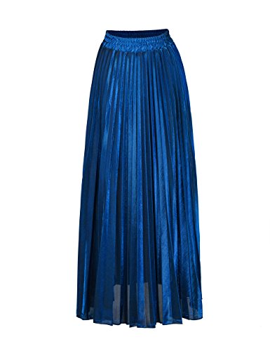 Women's Luster Elegant Pleated A Line Long Maxi Elastic Waist Retro Skirt by Geckoistail