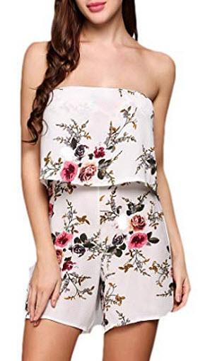 Qearal Womens Off Shoulder Floral Short Jumpsuit Strapless Summer Boho Rompers Playsuit, white