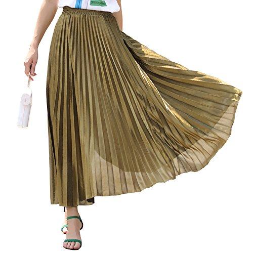 Women's Premium Metallic Shiny Shimmer Accordion Pleated Long Maxi Skirt by ZHU WEIWEI