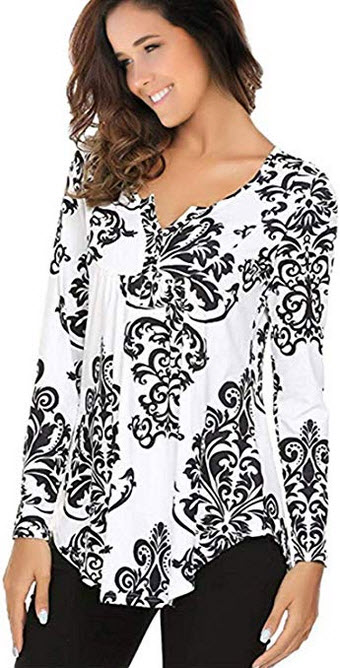 Women's Printed Long Sleeve V Neck Pleated Casual Henley Blouse Shirt Tops black 1