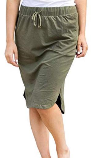 Wenseny Womens Skirts Knee-Length Pencil-Skirts Solid Midi-Skirts for Ladies Stretchy Drawstring ...