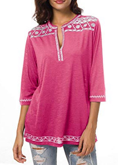Urban Coco Women's 3/4 Sleeve Boho Shirts Embroidered Peasant Top, rose