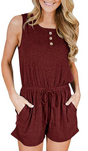 Abninigee Womens Sleeveless Jumpsuits Casual Short Tank Romper Button Stretchy Tops with Pockets ...
