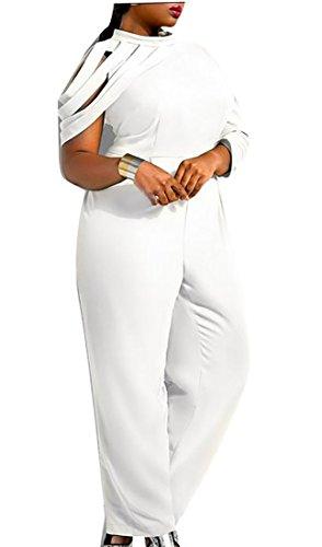 Women's Summer Chiffon Long Sleeve Plus Size Long Jumpsuit