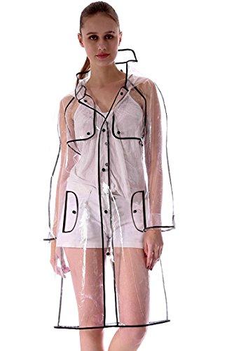 Womens Transparent raincoat Runway Style Clear Fashion Rain Coat by KISSFEEL
