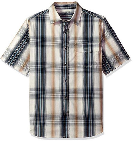 Woolrich Men's Desert View Plaid Short Sleeve Shirt deep indigo