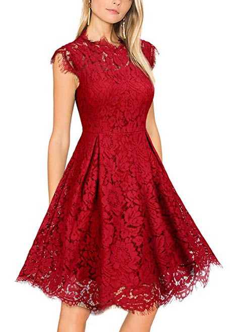WOOSUNZE Womens Sleeveless Crew Neck Lace Floral Elegant Cocktail Party Swing Dress burgundy