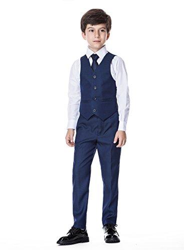 WQI.HAN Boys Classic Formal Dress Suits Set 5 Piece Slim Fit Dresswear Suit