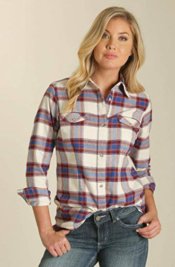 Wrangler Women's Long Sleeve Plaid Flannel Boyfriend Shirt