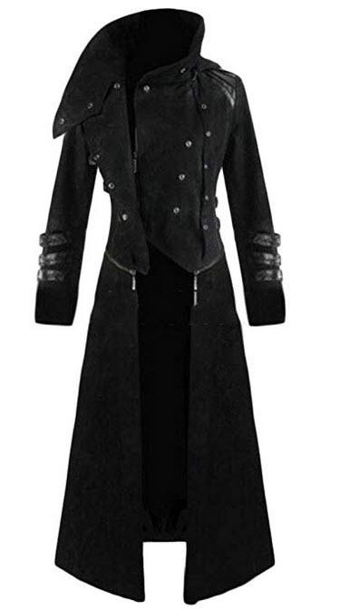 WSPLYSPJY Men Medieval Gothic Steampunk Long Coat Jacket Tuxedo Tailcoat Trench Coats black