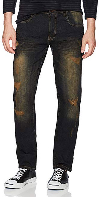 WT02 Men's Clean Washed Fashion Stretch Ripped Denim Pants dark sand tint