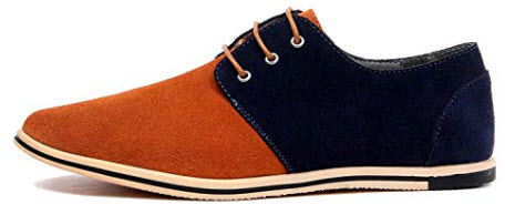 WUIWUIYU Men's Lace-Up Round Toe Suede Flat Casual Oxfords Shoes Large/Big Size camel