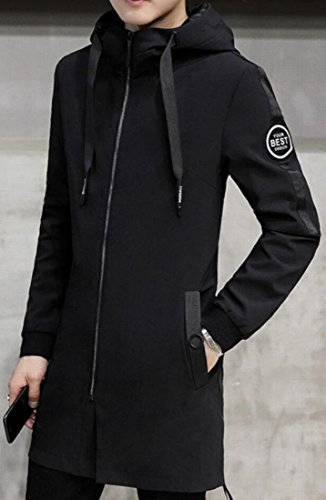 X-Future Mens Slim Fit Drawstring Front Zip Hooded Trench Coat Jackets