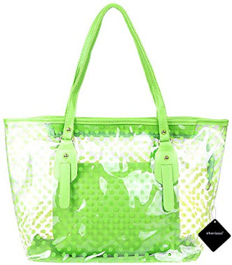 xhorizon FL1 Polka Dot Waterproof Transparent PVC Zipper Beach Handbag Carrier Tote Shoulder Bag ...