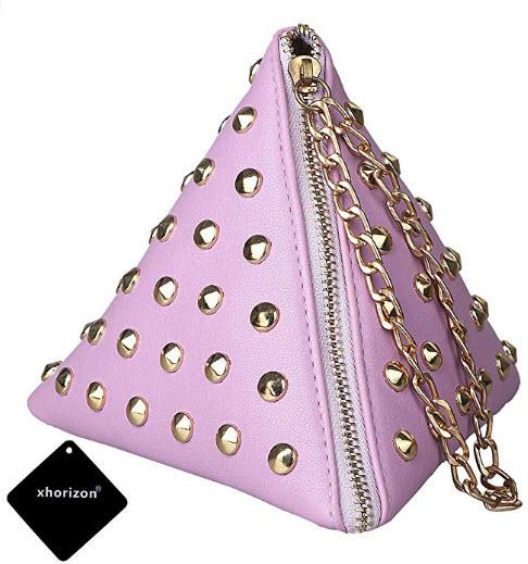 xhorizon TM SR Women PU Leather Rivet Studded Triangle Purse Wristlet Clutch Wallet Handbag purple