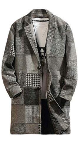 xiaohuoban Mens Fashion Classic Wool Blend Single Breasted Long Sleeve Pea Coats