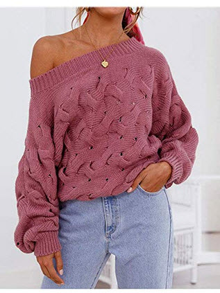 Xinbeauty Women's Sexy Off Shoulder Long Sleeve Loose Oversized Baggy Cable Knit Pullover Sweate ...