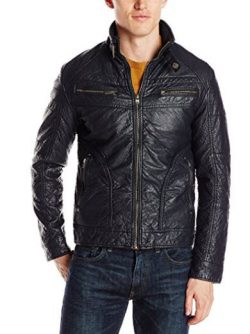 X-Ray Men's Slim Fit Faux Leather Moto Jacket.