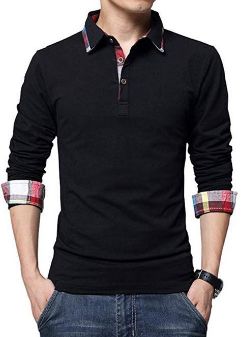 XTAPAN Men's Casual Stripe Long Sleeve Slim Fit Polo Cotton T ShirtD-black