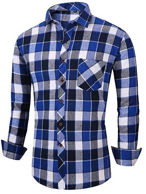 XTAPAN Men's Plaid Casual Shirts-Regular Fit Long Sleeve Checked Button Down Dress Shirts  ...