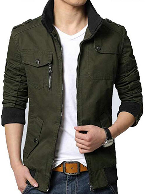 XueYin Mens Solid Cotton Casual Wear Stand Collar Jacket dark army green