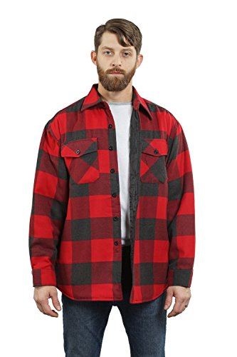 YAGO Men's Quilted Lined Long Sleeve Flannel Plaid Button Down Shirt