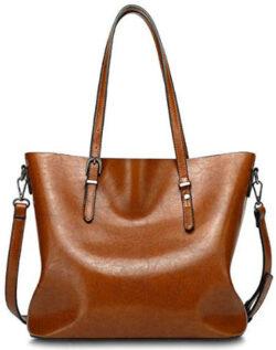 YALUXE Women's Large Capacity Leather Work Tote Zipper Closure Shoulder Bag, brown