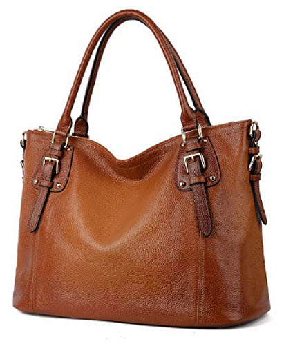 YALUXE Women's Leather Tote Shoulder Bag Handbag Brown small one