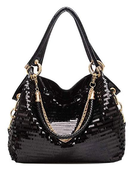 Yan Show Women Patent Leather Chain Handbags Large Shoulder Bags for Ladies Sequin Purse
