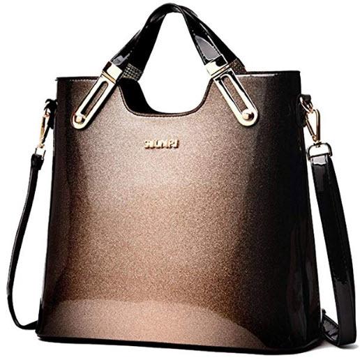 Yan Show Women's Patent Leather Shoulder Bag Pendant Handbag, gold-b