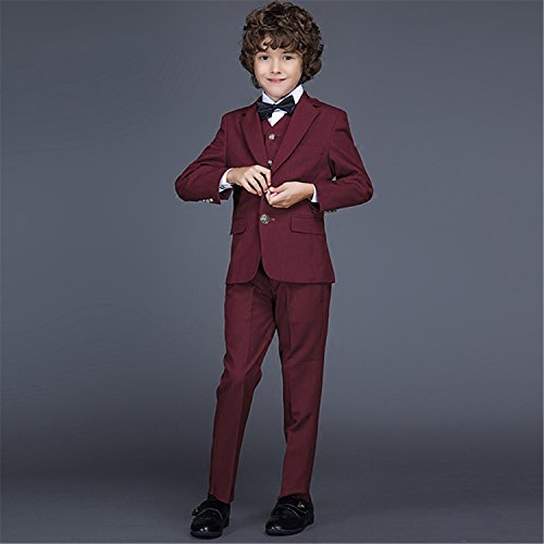 Yanlu Boy's Formal Suits Jacket+Pants+Vest+Shirt+Bow Tie 5 Piece Suit Sets