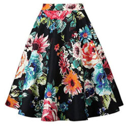 Yanmei Women's 50s Vintage Floral Skirt High Waisted A Line Casual Midi Skirts, colorful f ...