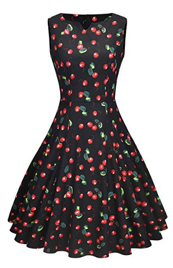 Yarn & Ink Women's 1950s Vintage Sleeveless Swing Party Dress