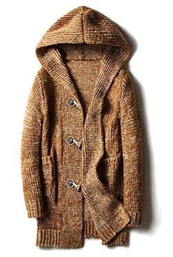 Yayu Mens Cardigan Toggle Coat Shawl Collar Hooded Knit Sweater Outwear Khaki