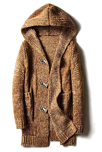 Yayu Mens Cardigan Toggle Coat Shawl Collar Hooded Knit Sweater Outwear Khaki