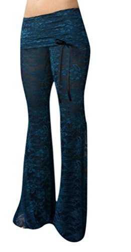 Yayu Women Dance Wear Lace Stiching Long Palazzo Lounge Pants