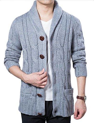 Yayun Yayu Men's Autumn Casual Solid Long Sleeve Shawl Collar Cardigan Sweater