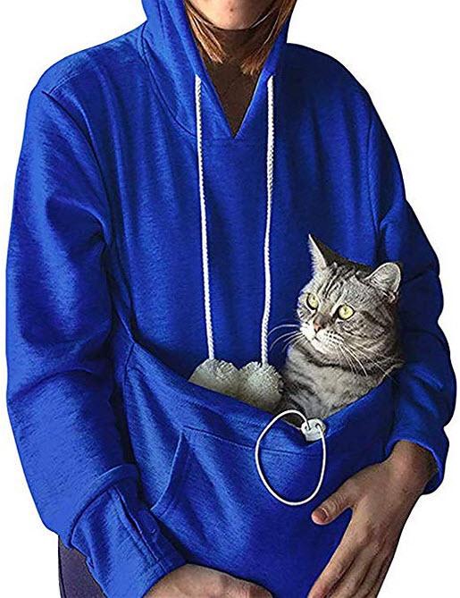 yeeATZ Pet Kangaroo Pouch Fashion Hoodies Pullover Cat Dog Holder Carrier Sweatshirt blue