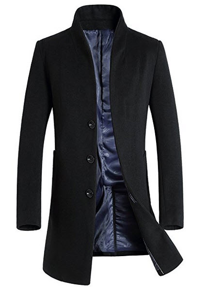 Yeexue Men's Wool Classic French Front Business Coat Fashion Slim Fit Long Jacket .