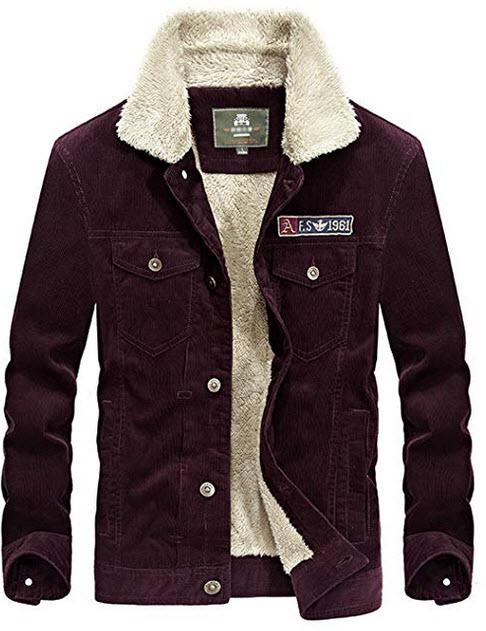Yeokou Men's Vintage Slim Sherpa Lined Shearling Corduroy Trucker Jacket red