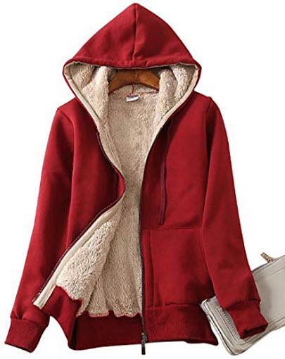 Yeokou Women's Casual Winter Warm Sherpa Lined Zip Up Hooded Sweatshirt Jacket Coat, wine red