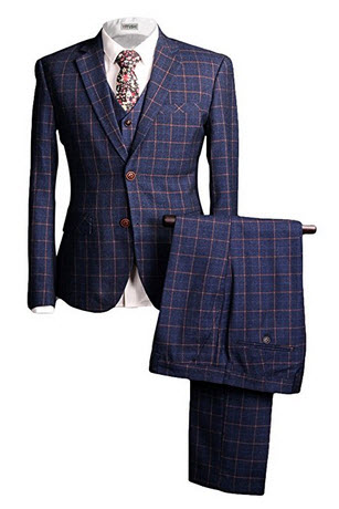 YFFUSHI Mens One Button Plaid 3 Pcs Suit Blazer Jacket Tux Vest & Trousers Slim.