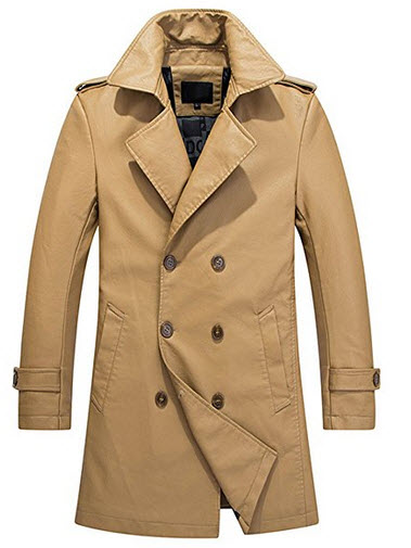 YGT Men's Faux Leather Slim Trench Coat Double Breast Parka Jacket Outwear.