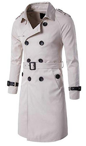 YIhujiuben Mens Casual Single-Breasted Slim Fit Long Trench Coat with Belt white