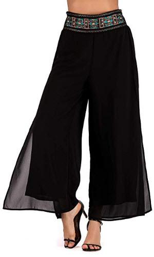 Yinglizi Women's Palazzo Pants Casual Elastic Waist Band Adjustable Wide Leg Pants Free Si ...